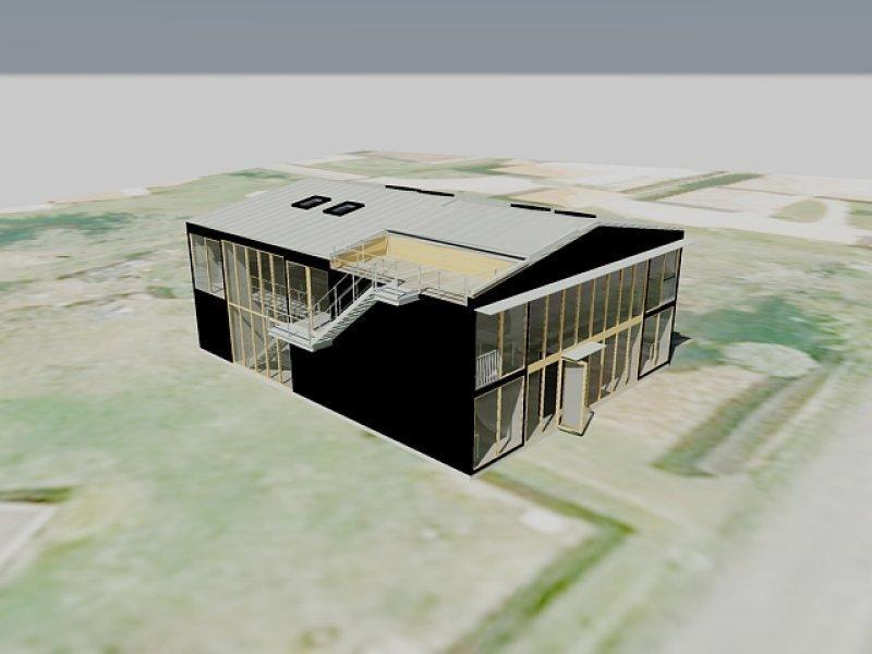 Maison basse consommation brindas fabien perret architecte lyon - Cout d une maison container ...