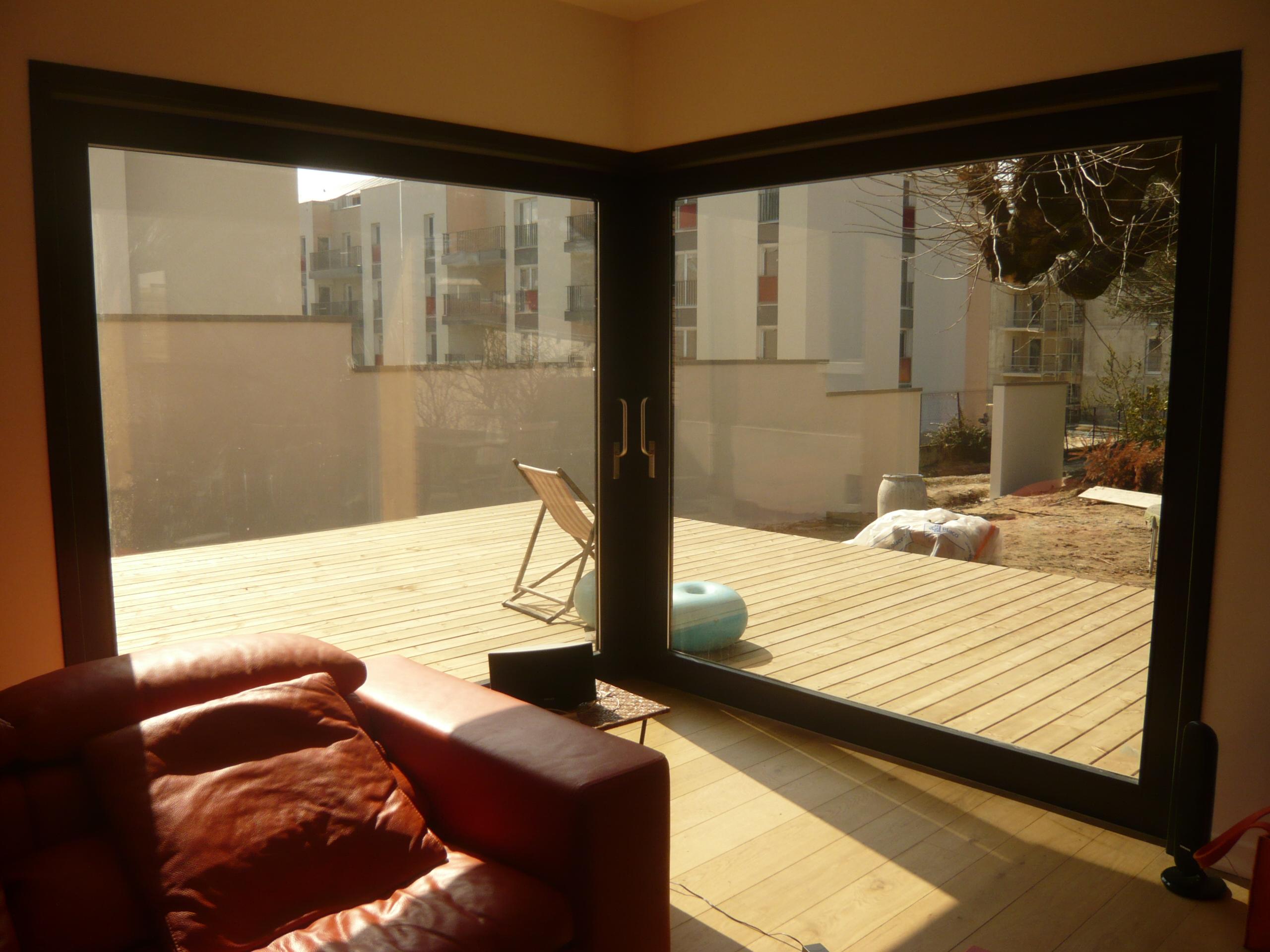 Interieur extension baie vitree